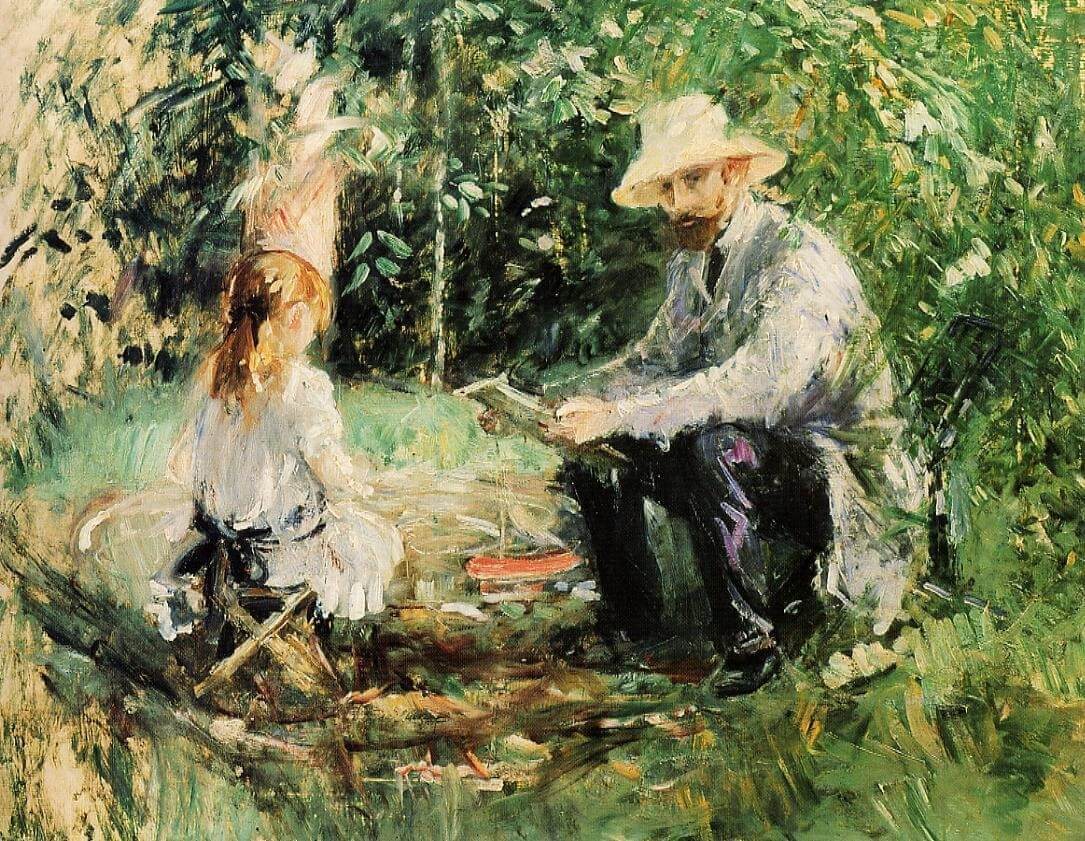 Eugene Manet - and-His-Daughter-in-the-Garden