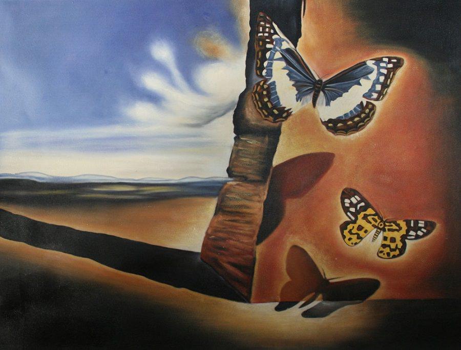 Salvador Dali Landscape with butterflies