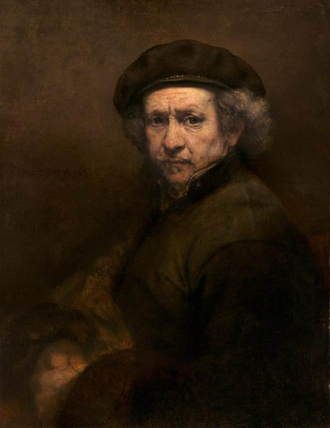 Rembrandt – Self portrait with beret and turned up collar